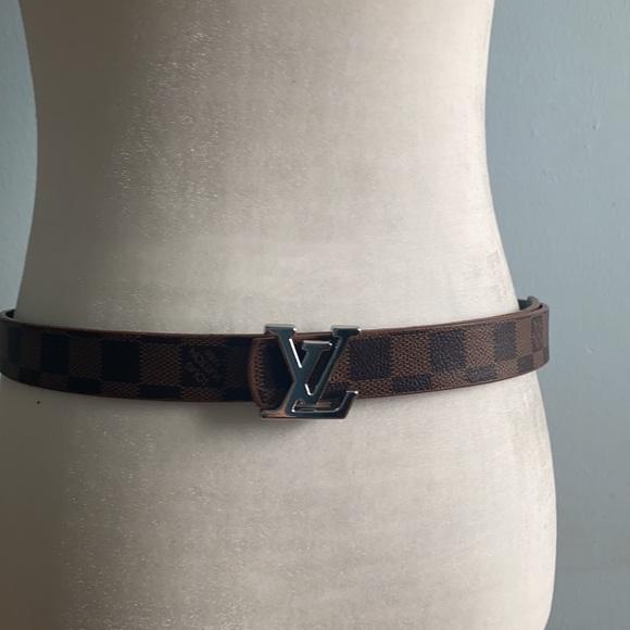 Louis Vuitton Brown Reversible Belt silver buckle